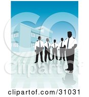 Group Of Silhouetted Male Security Guards In Uniforms Standing Outside A Commercial Building
