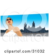 Clipart Illustration Of A Female Tourist Wearing Shades Looking Up And Standing In The Zocalo In Mexico City by David Rey