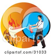 Clipart Illustration Of A Man Calmly Extinguishing Flames With A Fire Extinguisher