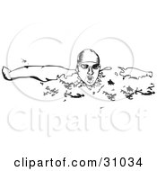 Clipart Illustration Of A Man Wearing A Swim Cap And Goggles Lifting His Head And Taking A Breath While Swimming by David Rey
