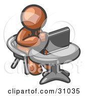 Clipart Illustration Of A Brown Man Working On A Laptop Computer On A Table by Leo Blanchette