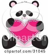 Romantic Panda Sitting And Holding A Pink Heart Valentine