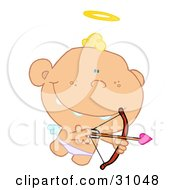 Clipart Illustration Of A Grinning Cupid Flying With A Halo Above His Head Aiming An Arrow by Hit Toon