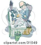Clipart Illustration Of A Senior Caucasian Man Seated At His Desk Reading His Agenda For The Day In His Office by PlatyPlus Art