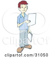 Clipart Illustration Of A Young Man Delivering Paperwork To Employees In An Office by PlatyPlus Art