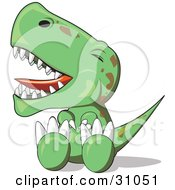 Fussy Baby T Rex Dinosaur Sitting On The Ground And Throwing A Temper Tantrum