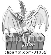 Gothic Stone Gargoyle With Red Eyes Seated On The Ledge Of A Building
