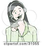 Clipart Illustration Of A Friendly Caucasian Businesswoman Speaking Through A Headset A Receptionist Or Customer Service Agent In A Call Center by PlatyPlus Art #COLLC31055-0079