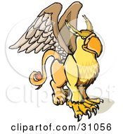 Clipart Illustration Of A Winged Griffin Creature Part Lion Part Eagle by PlatyPlus Art #COLLC31056-0079