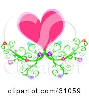 Clipart Illustration Of A Pink Heart Flourish With Green Flowering Vines Emerging From The Bottom by bpearth