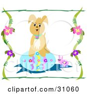 Clipart Illustration Of A Puppy Standing On Top Of A Large Blue Easter Egg A Toy Bunny On The Floor Bordered By Flowering Vines