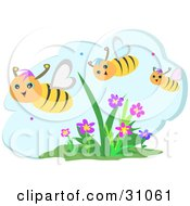 Three Happy Honey Bees Flying Over Flowers On A Beautiful Day