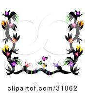 Clipart Illustration Of A Black Tattoo Border With Colorful Flowers And Hearts Bordering White by bpearth