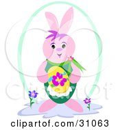 Clipart Illustration Of A Happy Pink Easter Bunny Smiling And Holding A Yellow Easter Egg With A Flower On It by bpearth