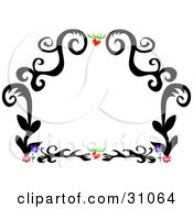 Clipart Illustration Of A Black Tattoo Plant Design Border With Hearts And Flowers On White by bpearth