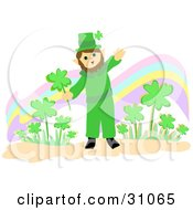 St Paddys Day Leprechaun Waving And Holding A Shamrock While Standing In Front Of A Rainbow And Clover Patch