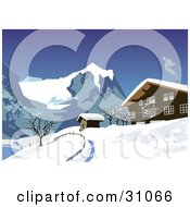 Clipart Illustration Of Smoke Rising From A Chalet In The Snowy Swiss Alps Under A Clear Blue Sky by Eugene #COLLC31066-0054