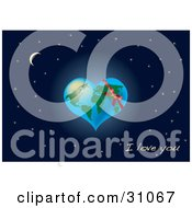 Clipart Illustration Of Earth Shaped As A Heart With A Red Ribbon Over A Starry Night Sky With A Crescent Moon And I Love You Text by Eugene
