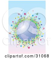 Colorful Flowers And Butterflies Circling Blue Planet Earth On A Gradient Background