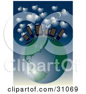 Clipart Illustration Of City Skyscrapers And A Road On Top Of Planet Earth Under A Starry Night Sky With A Crescent Moon And Hearts