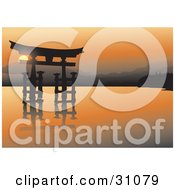 Clipart Illustration Of An Asian Sculpture Over Water Silhouetted Against An Orange Sunset With Mountains In The Distance