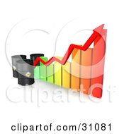 Clipart Illustration Of Three Black Oil Barrels And A Red Arrow Along The Incline Of A Colorful Bar Graph