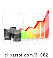 Clipart Illustration Of Three Black Unmarked Oil Barrels By A Colorful Bar Graph With A Red Arrow Showing An Incline