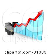 Clipart Illustration Of Three Black Oil Barrels And A Red Arrow Along The Incline Of A Blue Bar Graph
