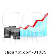 Clipart Illustration Of Three Black Unmarked Oil Barrels By A Blue Bar Graph With A Red Arrow Showing An Incline
