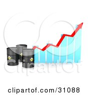 Clipart Illustration Of Three Black Barrels Of Oil By A Blue Bar Graph With A Red Arrow Showing An Incline