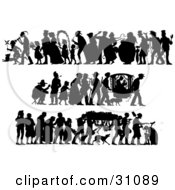 Set Of Silhouetted People In Different Scenes Wedding Voyage And Funeral
