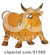 Clipart Illustration Of A Horned Brown Bull With A Silver Ring In His Nose by Alex Bannykh