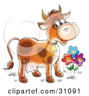 Clipart Illustration Of A Happy Farm Cow With Spots Wearing A Bell And Standing By Colorful Flowers by Alex Bannykh