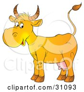 Clipart Illustration Of A Happy Yellow Cow With Pink Udders by Alex Bannykh