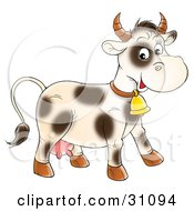 Clipart Illustration Of A Friendly Cream Cow With Spots Wearing A Golden Bell by Alex Bannykh