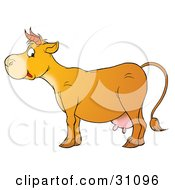 Clipart Illustration Of A Cute Cow In Profile With Pink Udders And Short Horns by Alex Bannykh