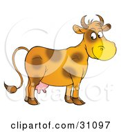 Clipart Illustration Of A Friendly Orange Dairy Cow With Brown Spots Looking Over At The Viewer by Alex Bannykh