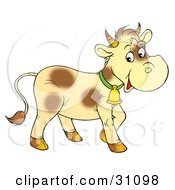 Clipart Illustration Of A Pale Yellow Cow With Brown Spots Wearing A Bell
