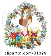 Clipart Illustration Of A Happy Brown Dairy Cow Wearing A Bell And Watching A Butterfly On Her Hoof Surrounded By A Wreath Of Colorful Spring Flowers by Alex Bannykh