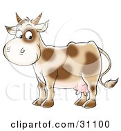 Clipart Illustration Of A Cute Dairy Cow With Brown Spots And Short Horns by Alex Bannykh