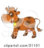 Clipart Illustration Of A Cute Brown Spotted Dairy Cow Wearing A Bell And Smiling