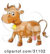 Clipart Illustration Of A Happy Brown Cow With Faint Spots Wearing A Bell