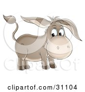 Clipart Illustration Of A Cute Brown Baby Donkey With Long Ears by Alex Bannykh #COLLC31104-0056