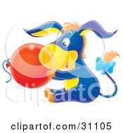 Cute Blue And Yellow Baby Donkey With Orange Hair And A Bow On His Tail Holding A Red Balloon