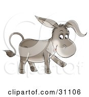 Clipart Illustration Of An Adorable Baby Donkey Walking And Smiling by Alex Bannykh