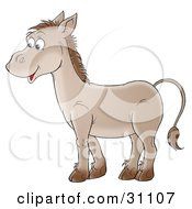 Clipart Illustration Of A Friendly Brown Donkey In Profile Smiling by Alex Bannykh