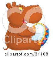 Clipart Illustration Of A Talented Brown Baby Hippo Sitting And Playing A Tambourine by Alex Bannykh