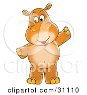 Friendly Brown Baby Hippopotamus Standing And Holding Her Arms Out
