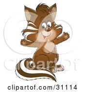 Clipart Illustration Of An Adorable Brown Baby Badger With White Markings Sitting Up And Holding His Front Paws Out by Alex Bannykh