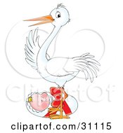 Clipart Illustration Of A White Stork Standing Over A Cute Little Baby Wrapped In A Bundle With A Red Ribbon by Alex Bannykh